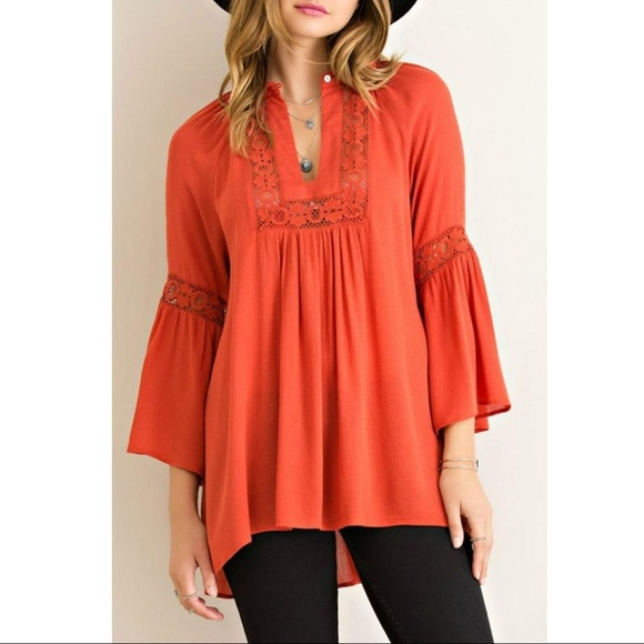 f4dbbe3cff453 Entro Tops - Entro Burnt Orange Rust Bell Sleeve Peasant Top M